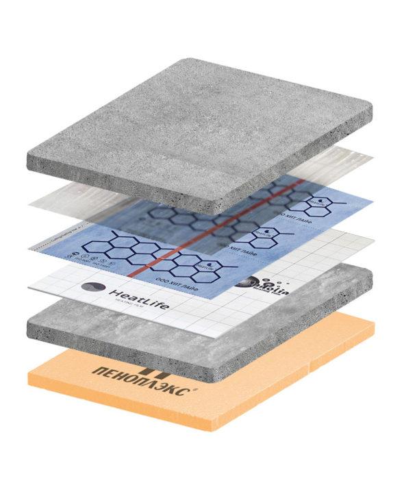 пирог под стяжку на бетонное основание во влажных помещениях