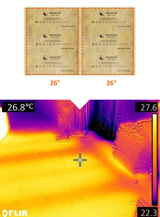 Плёночный тёплый пол в тепловизоре